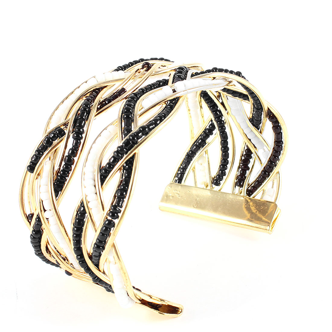 Ladies Black White Plastic Beeds Inlaid Metal Cross Woven Open Cuff Wrist Bangle