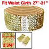 Women Interlock Buckle Gold Tone Sequin Detail Elastic Cinch Waist Belt