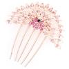 Pink Glittery Faux Rhinestones Inlaid Peafowl 5 Claws Hair Comb Clip Gold Tone
