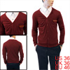 Man Fashion Burgundy Color Single-Breasted Front Casual Cardigan S