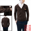 Pure Coffee Color Faux Leather Decor Chest Pocket Design Cardigan for Man S