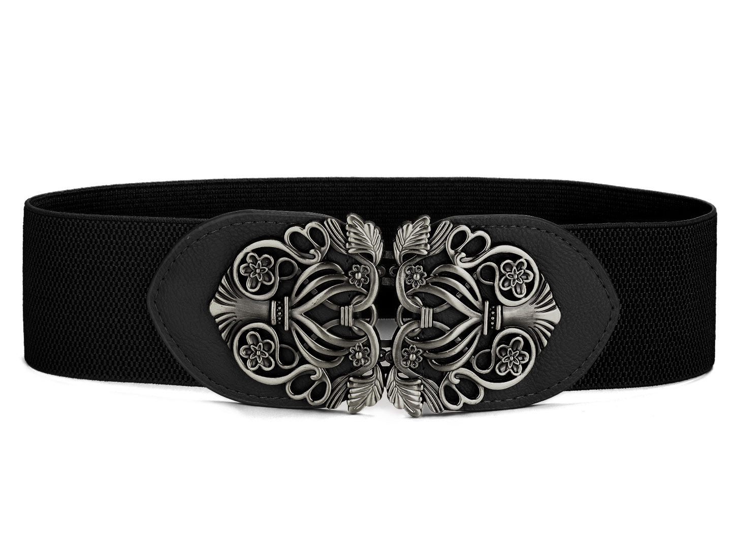 Girl Lady Faux Leather Interlocking Buckle Elastic Cinch Waist Belt Black