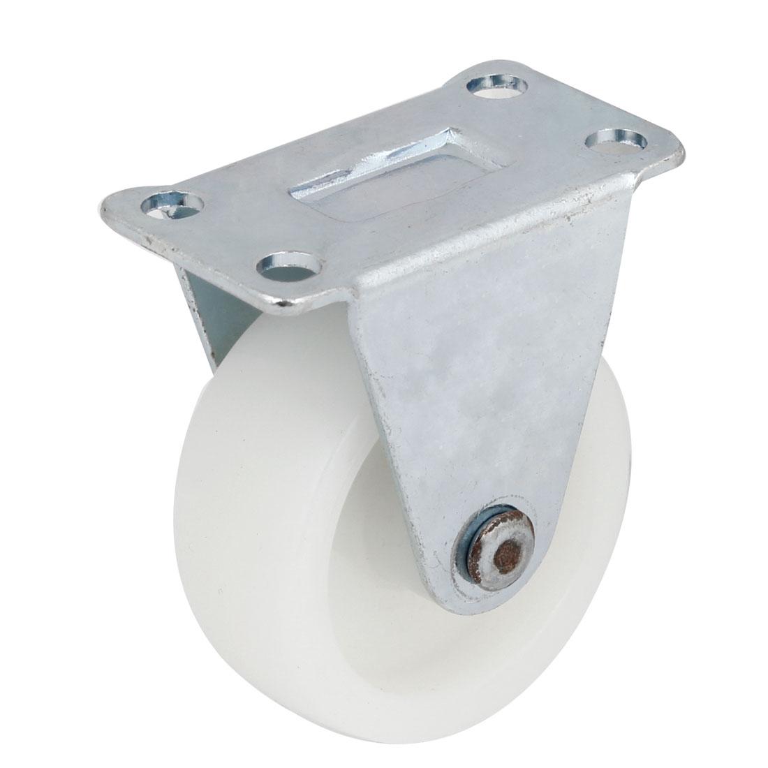 "1.6"" Diameter Plastic White Single Wheel Metal Rotatable Flat Plate Caster"