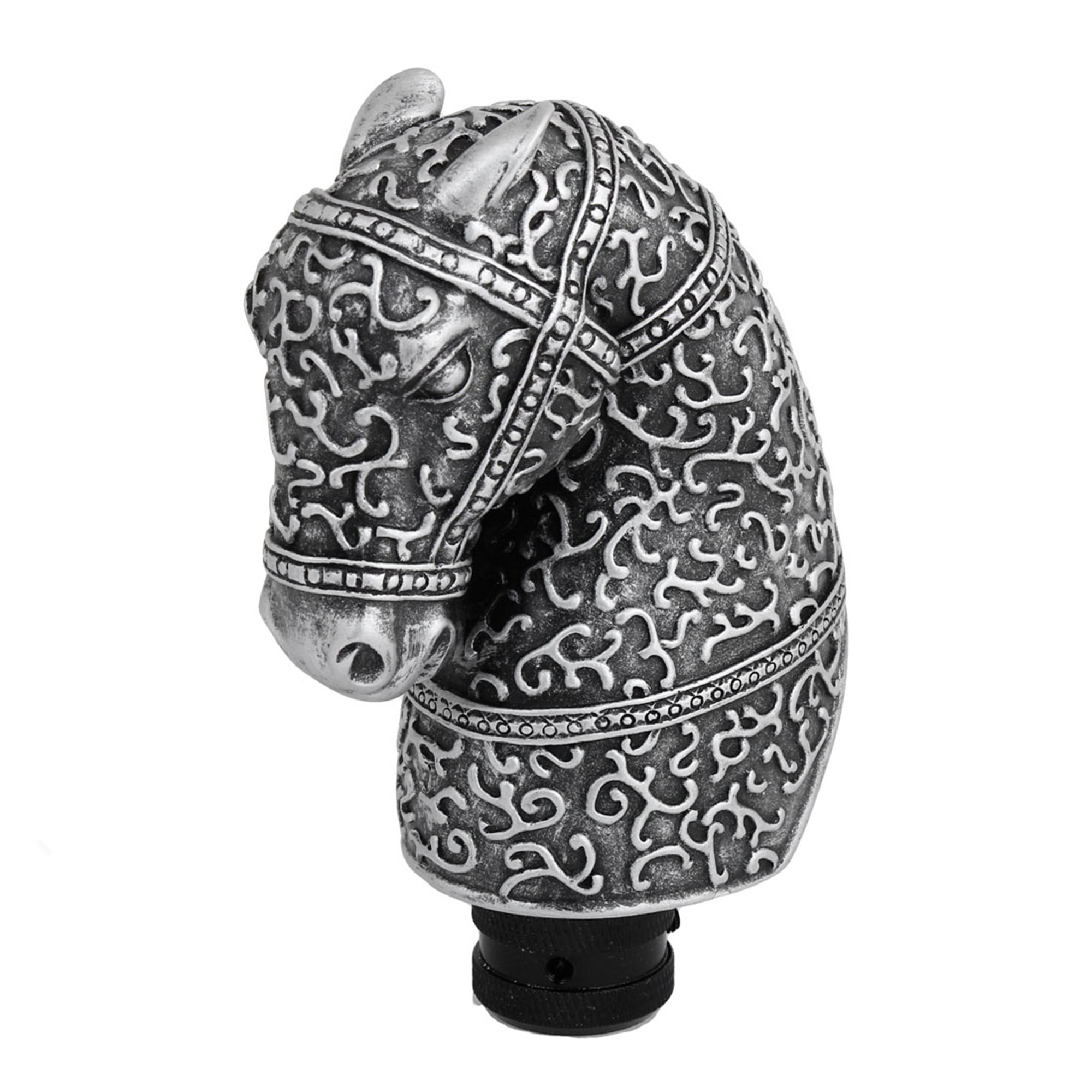 Silver Gray Aluminum Horse Head Style Gear Shift Knob Cover for Automobile Car