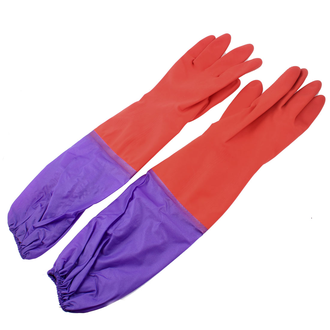 """Pair Elastic Purple Stitched 18.9"""" Length Red Full Finger Rubber Gloves"""
