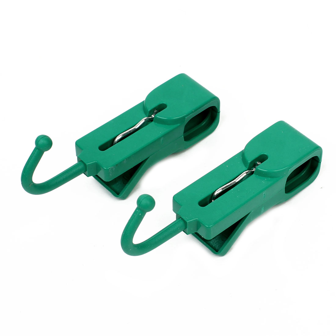 Home Spring Loaded Plastic Green Clothes Cup Clips Clamps 2 Pcs