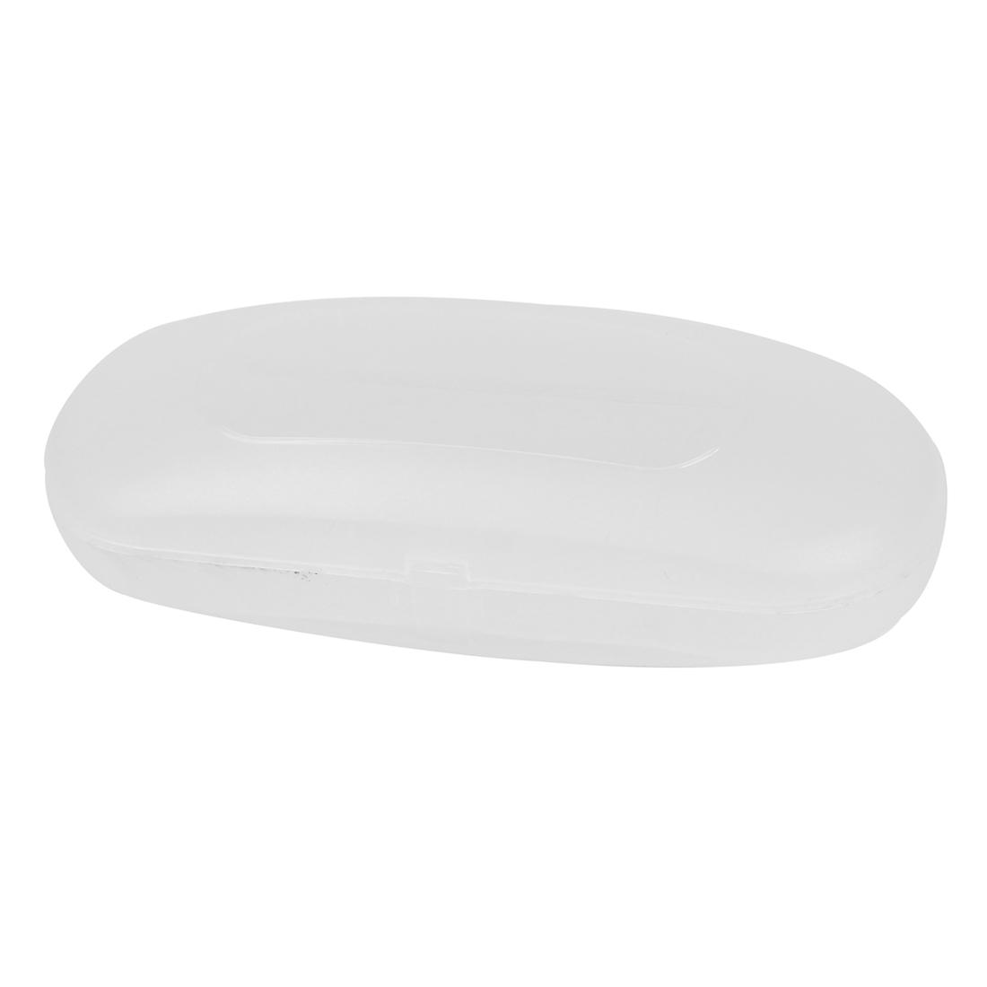 Portable Hard Plastic Plain Glasses Case Eyewear Clear White
