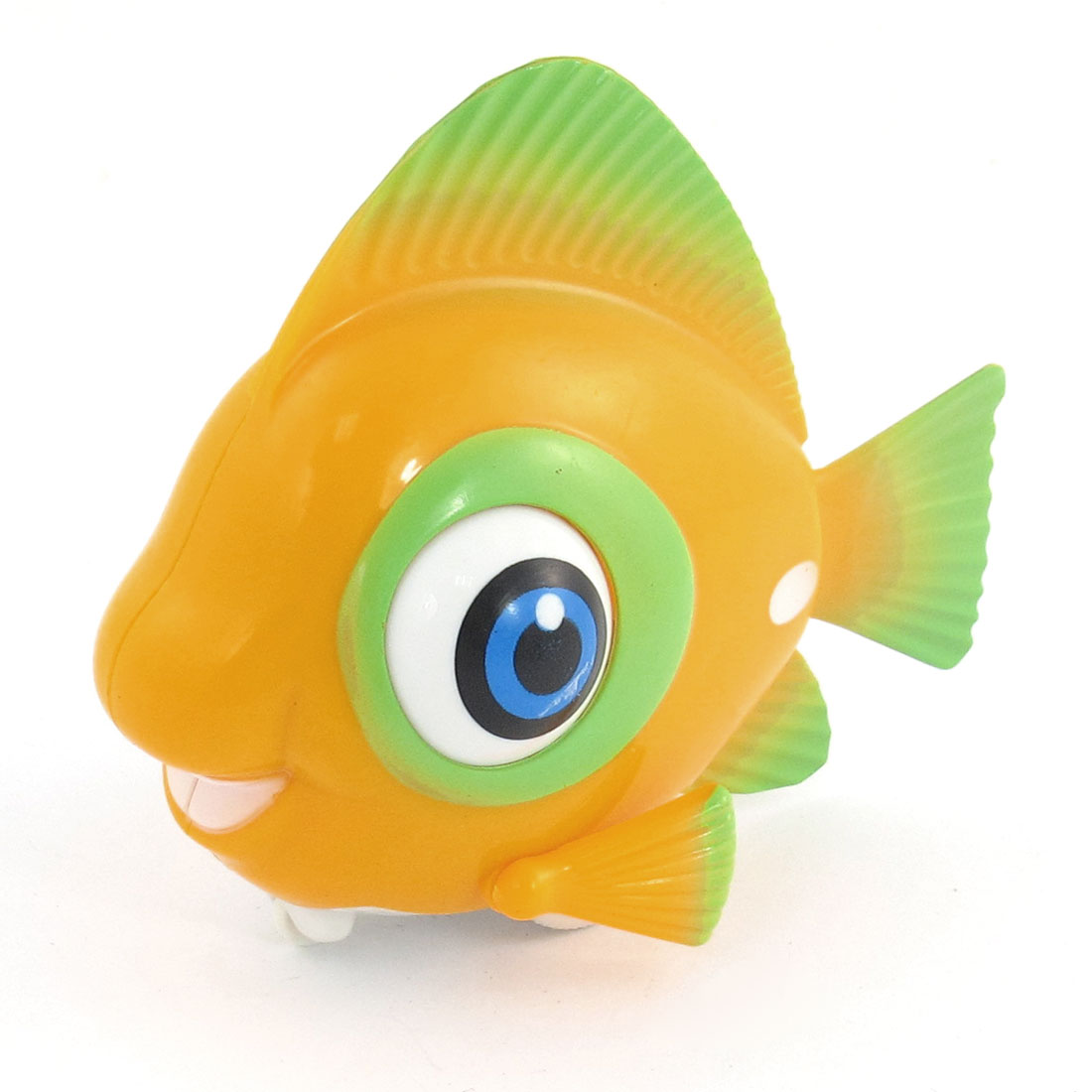 Clockwork Powered Wind Up Green Yellow Fish Shape Toy for Child Gift