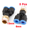 "5 Pcs 1/4""PT Thread to 6mm Push in Y Shaped Air Pneumatic Quick Fittings"