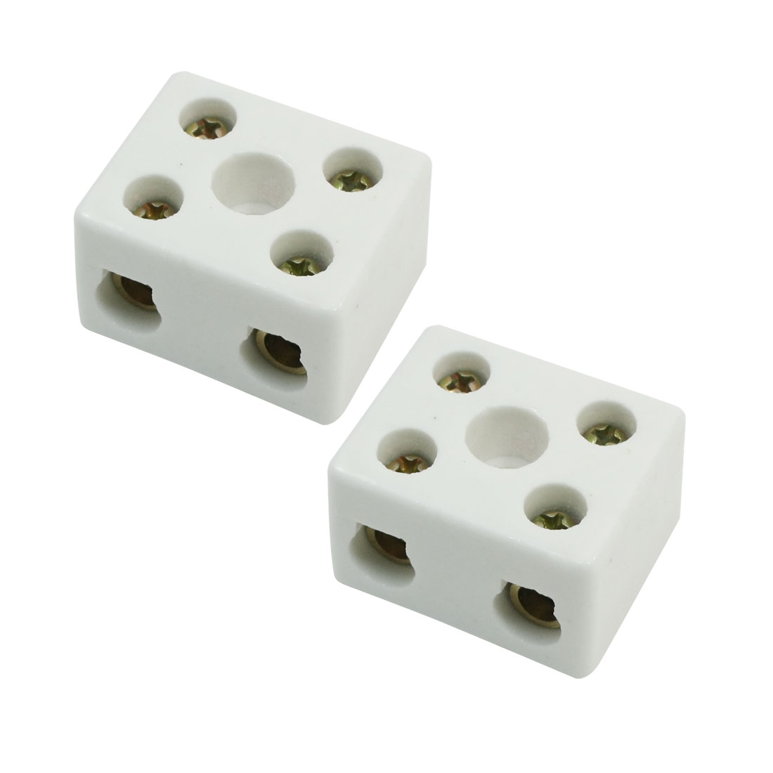 5A 2 Pole Insulation Connector Porcelain Ceramic Terminal Block 2W5H 2Pcs