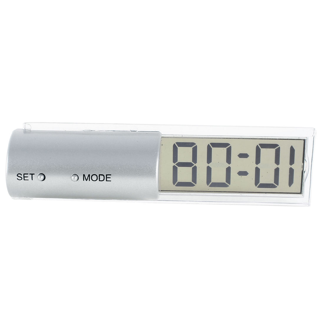 Battery Power 2 Buttons LCD Digital Clock Silver Tone Clear