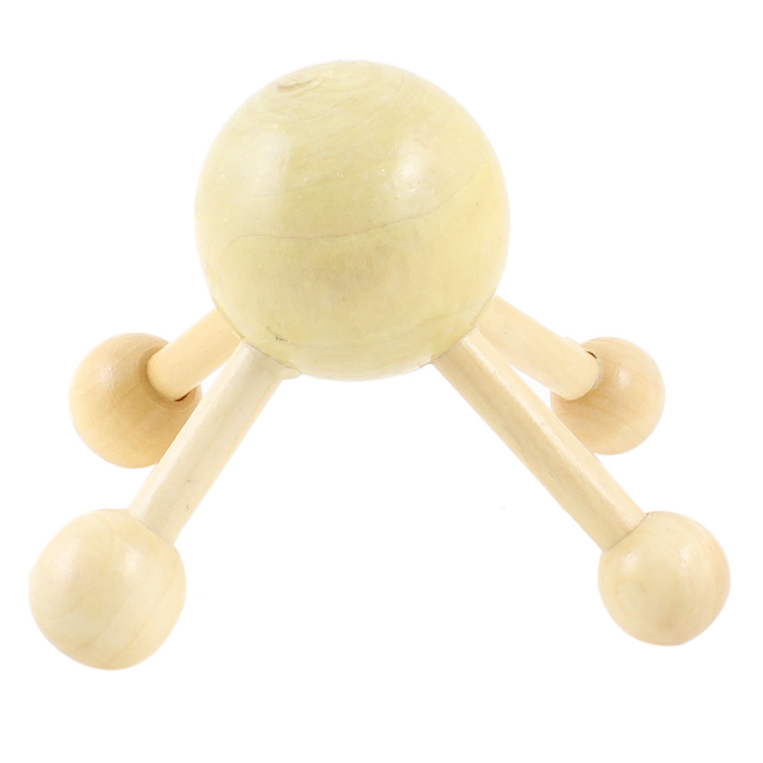Wood Color 4 Ball Legs Round Massager Head Hand Massage Roller