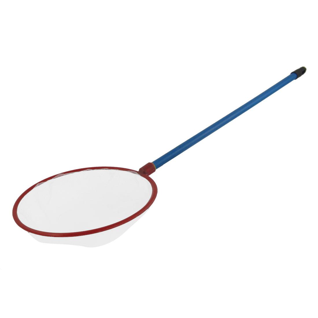 """Red 7.3"""" Diameter Round Rim Blue Handle Meshy Fish Landing Net"""