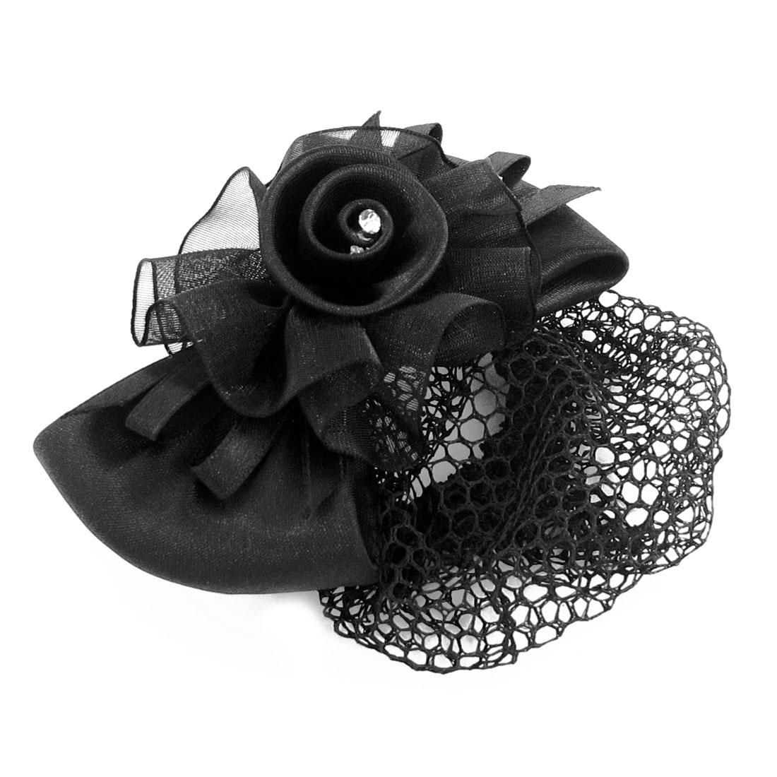 Black Floral Bowknot Snood Net Barrette Hair Clip Bun Cover for Woman