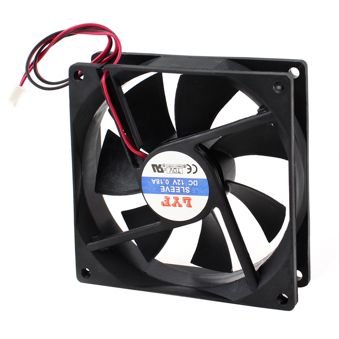 90mmx90mm Sleeve Bearing Connector Cooling Fan Black for PC Computer Case