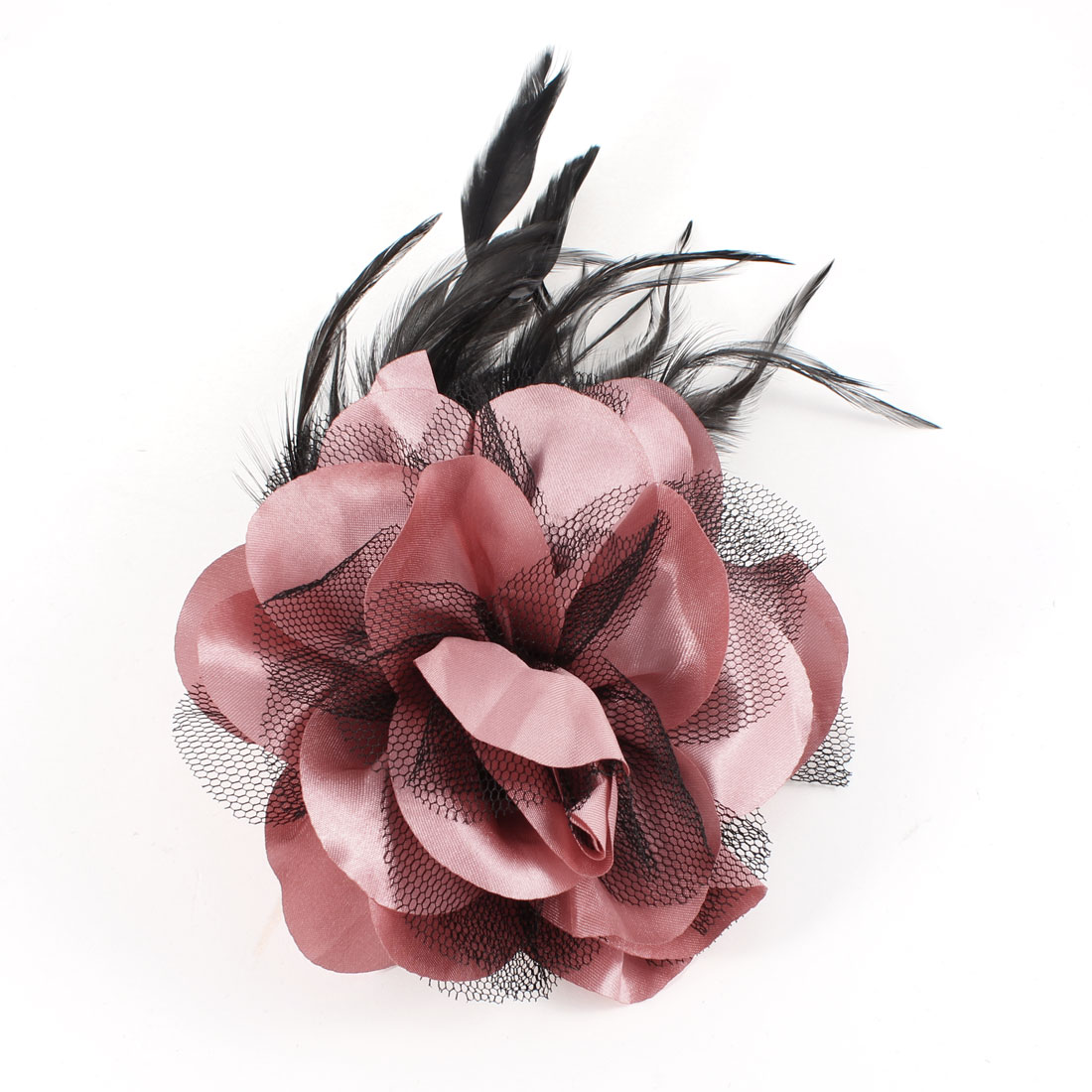 Pink Black Feather Mesh Floral Design Hairclip Corsage for Lady