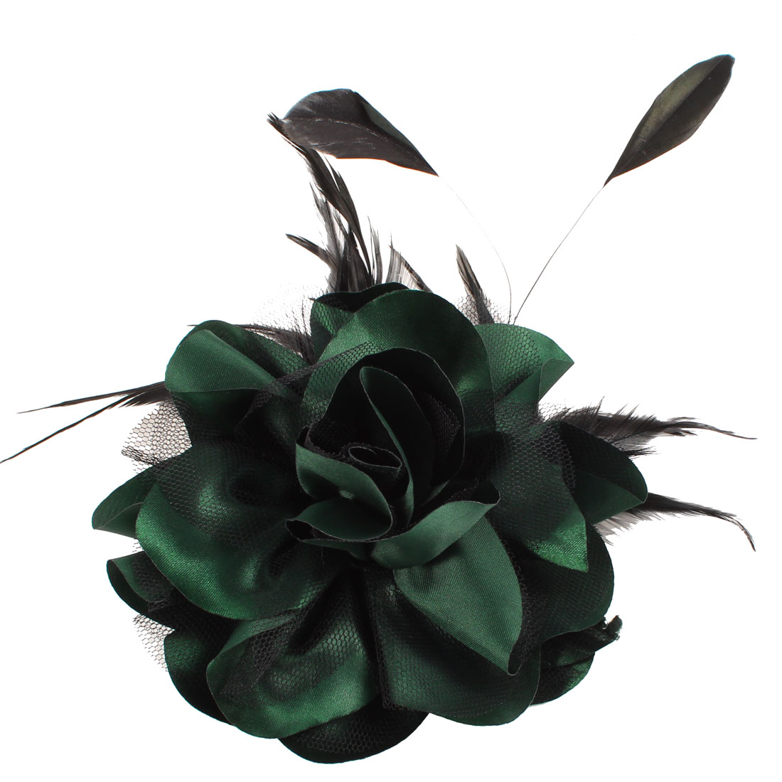 Dark Green Black Feather Mesh Floral Design Hairclip Corsage for Lady