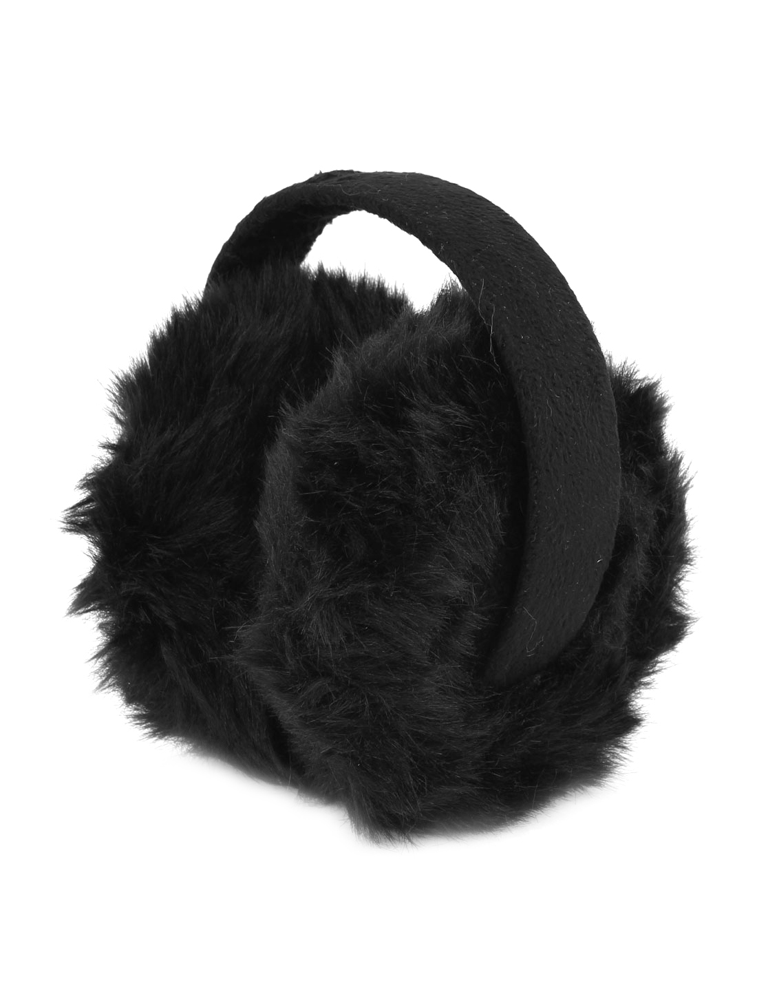 Winter Folding Black Plush Coated Plastic Bow Faux Fur Ear Warmer Earmuffs