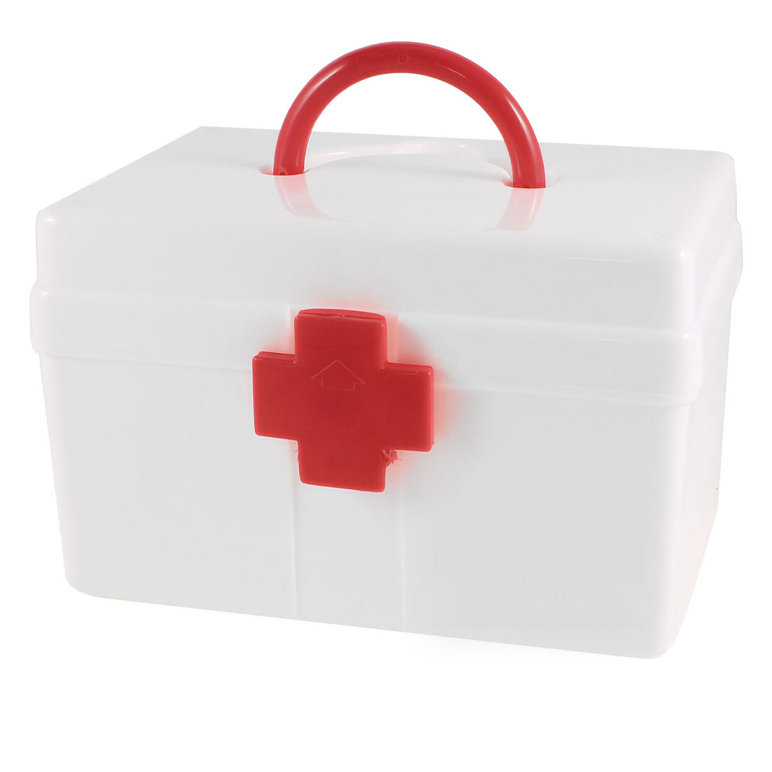 Family White Plastic Medicine Chest Box Container Pill First Aid Case