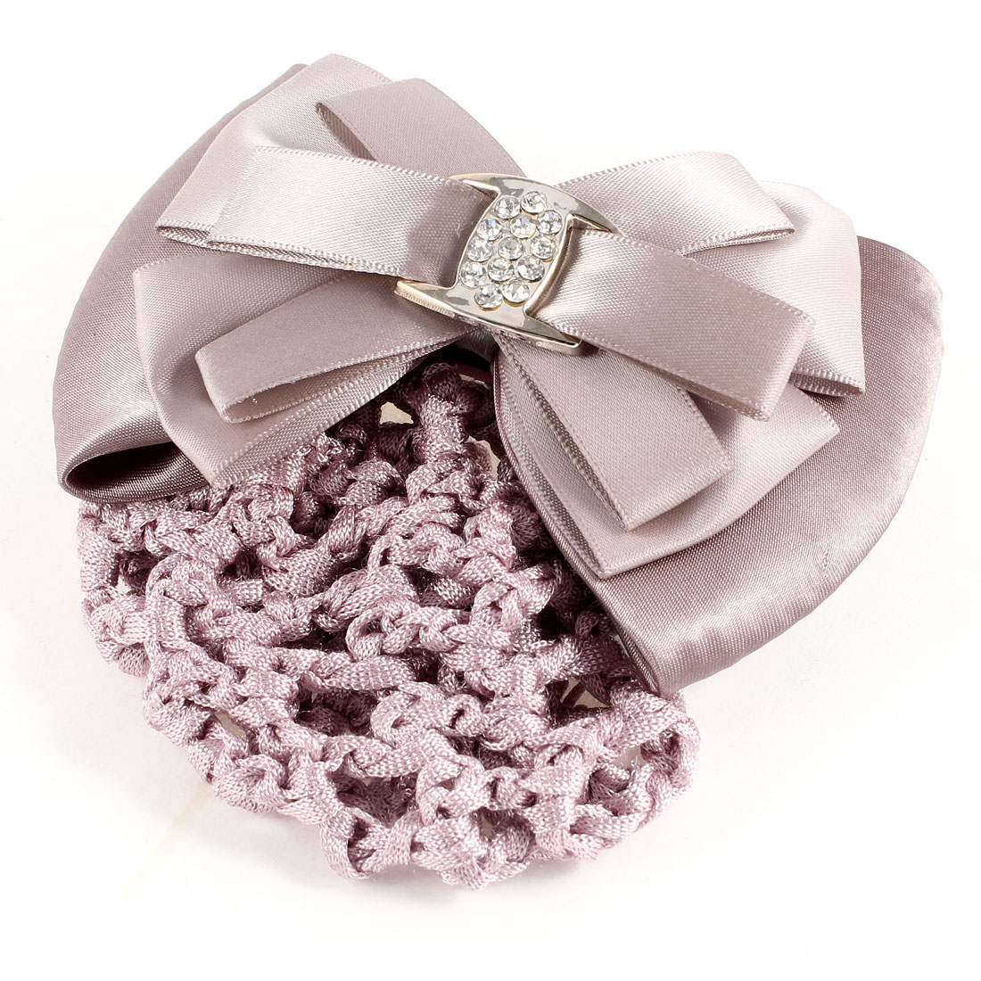 Ladies Hairnet Pale Purple Rhinestone Inlaid Bowtie Hair Clip Snood Net