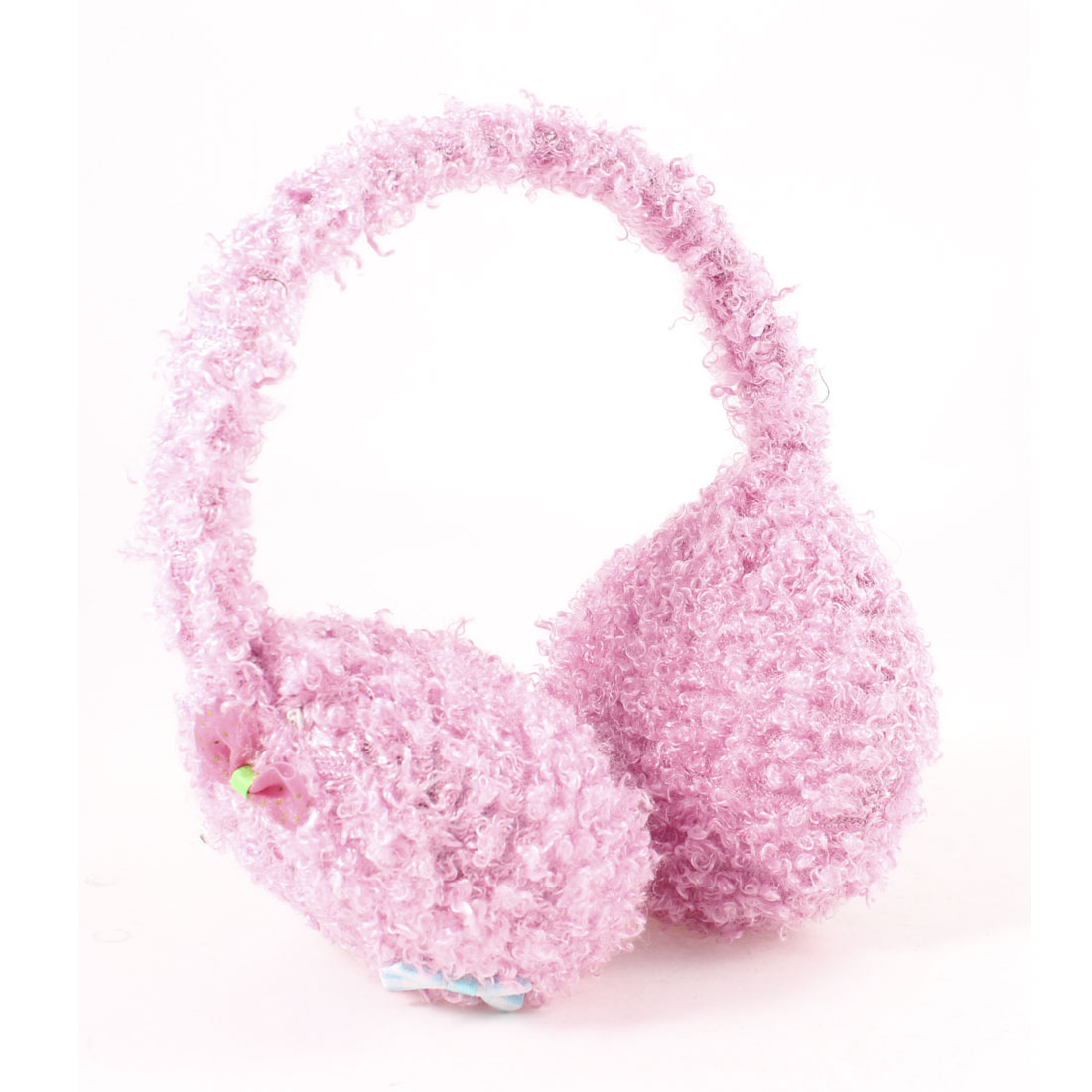 Lady Pink Plush Adjustable Organza Bowtie Decor Earmuffs Winter Warm