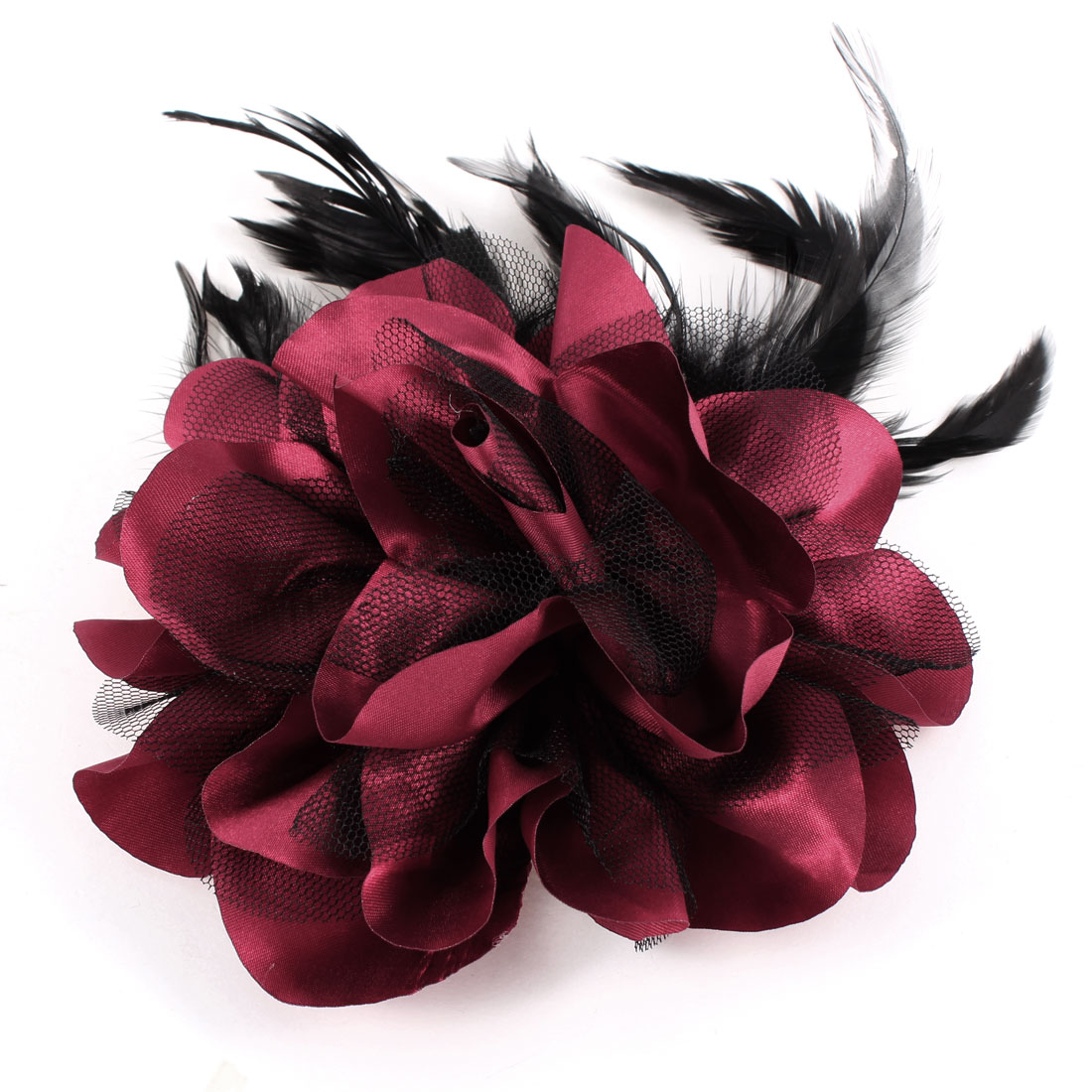 Burgundy Black Feather Mesh Floral Design Hairclip Corsage for Lady