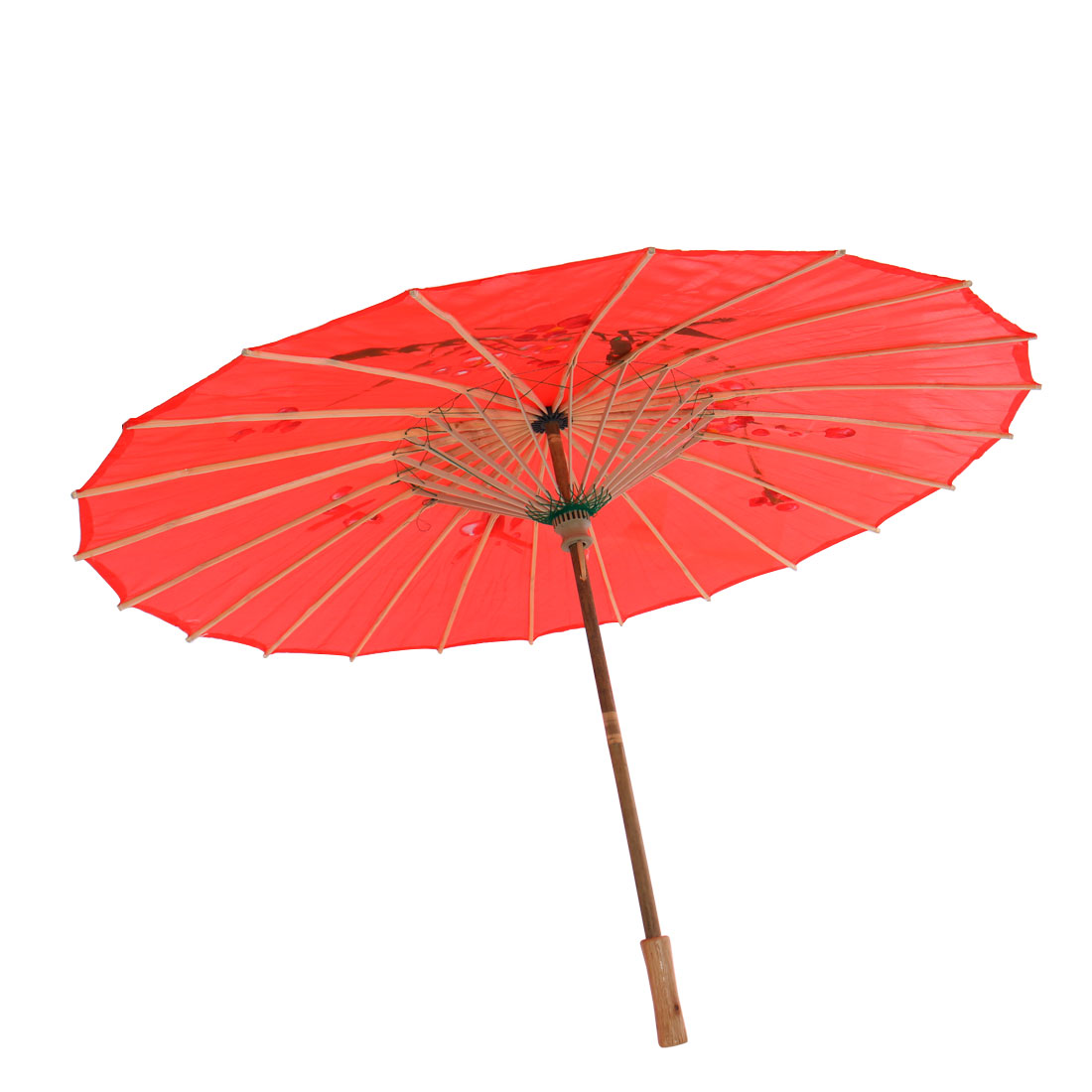 "Plum Blossom Pattern Red Bamboo 31.5"" Dia Chinese Oriental Umbrella Parasol"