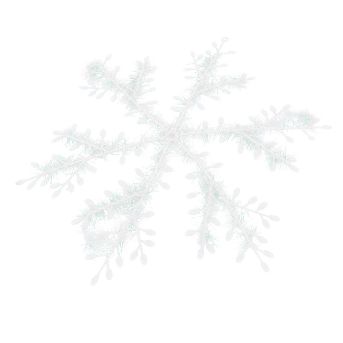 2 Pcs White Blinking Plastic Snowflake Hanger Decoration for Christmas Tree