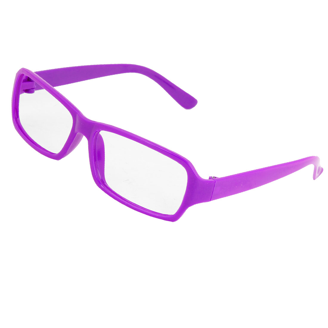 Plastic Arms Full Rim Rectangular Eyeglasses Frame Purple for Women