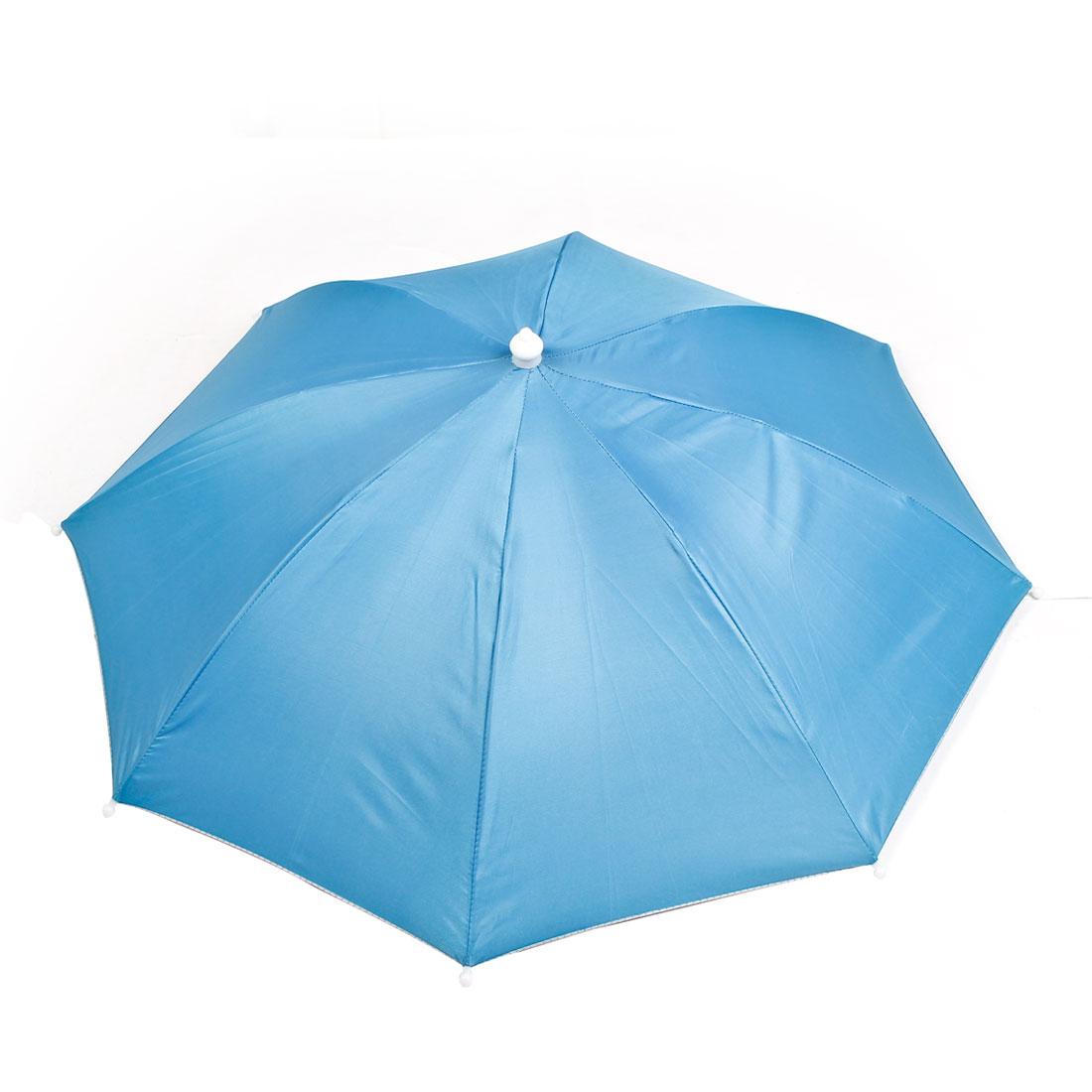 Beach Fishing Camping Sky Blue Folded Umbrella Hat Headwear Cap