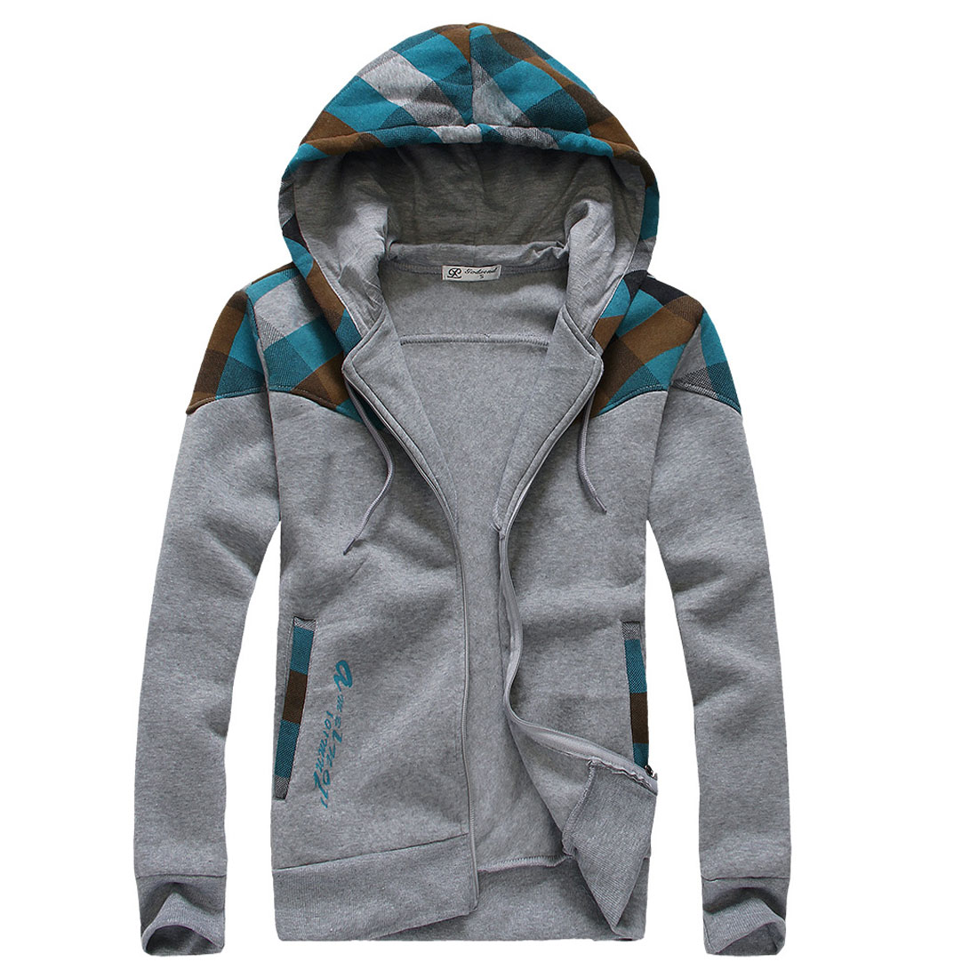 Mens Contrast Color Check Pattern Zip-Up Front Light Gray Hoodies M