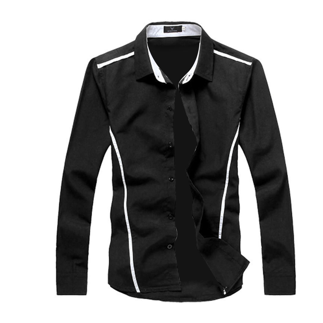 Men Point Collar Long Sleeve Piped Detail Button Down Black Shirt S
