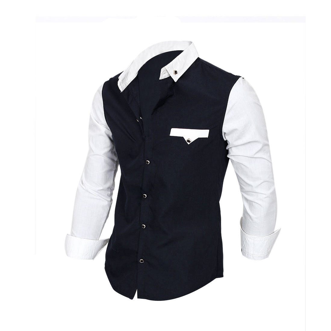 Single-Breasted Front Dark Blue White Slim Fit Casual Shirt for Man S