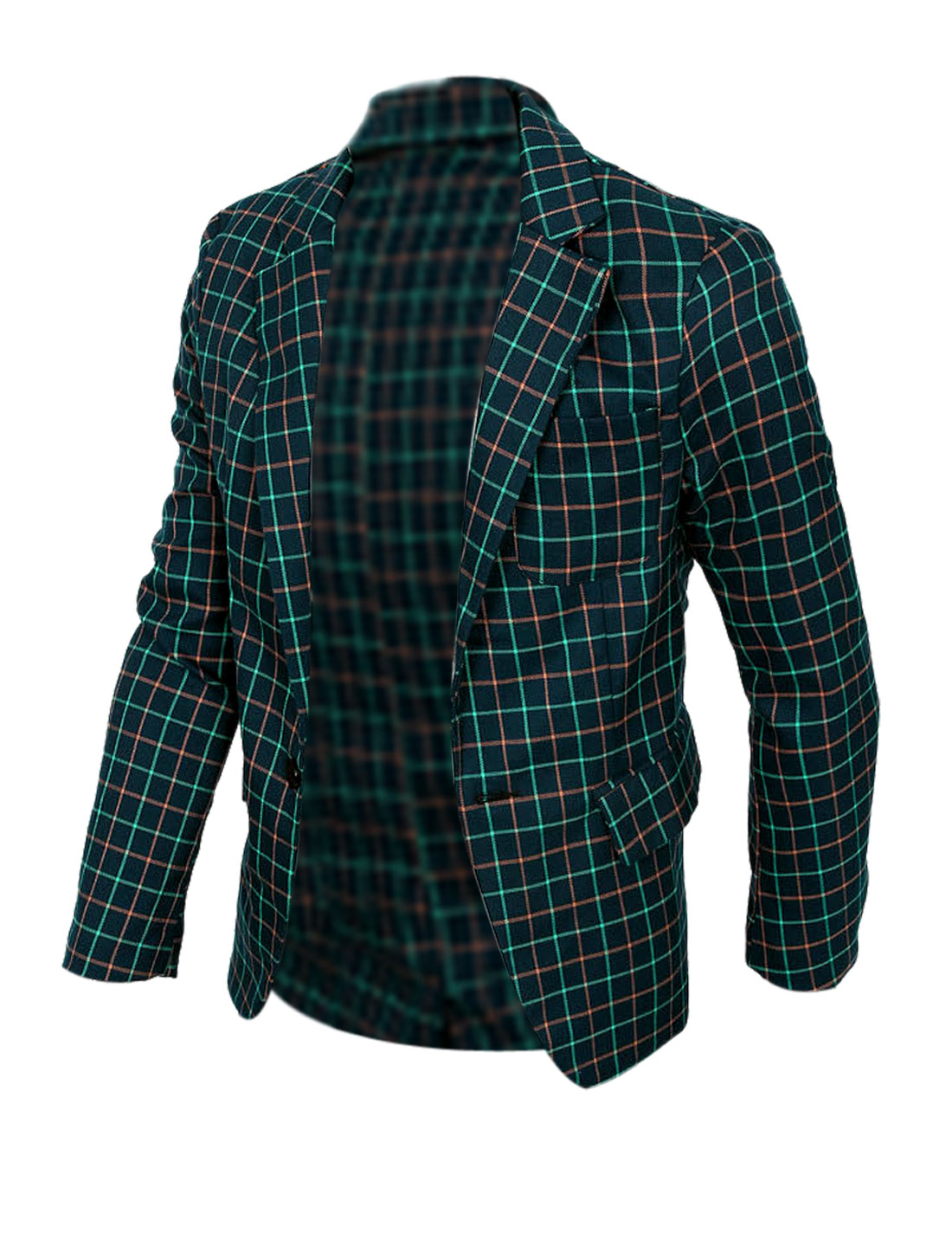 Man's Green Plaids One Button Easy-wear Blazer Jacket S