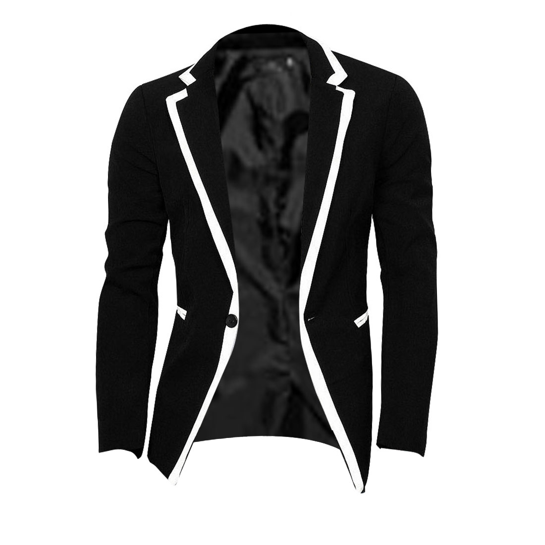 Mens Notched Lapel Padded Shoulder Contrast Color Black Blazer Jacket S