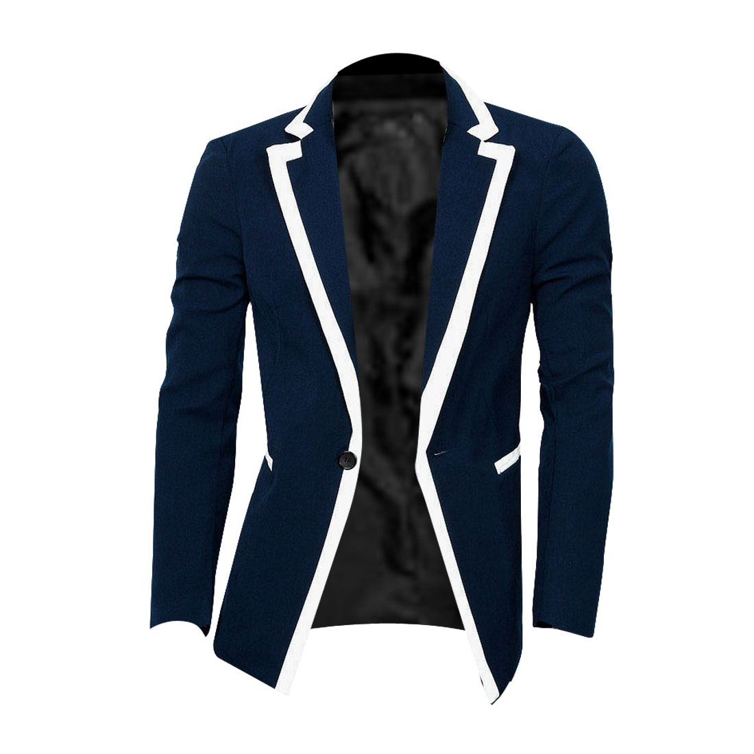 Man Chic Notched Lapel Long Sleeve One-Button Front Dark Blue Blazer S