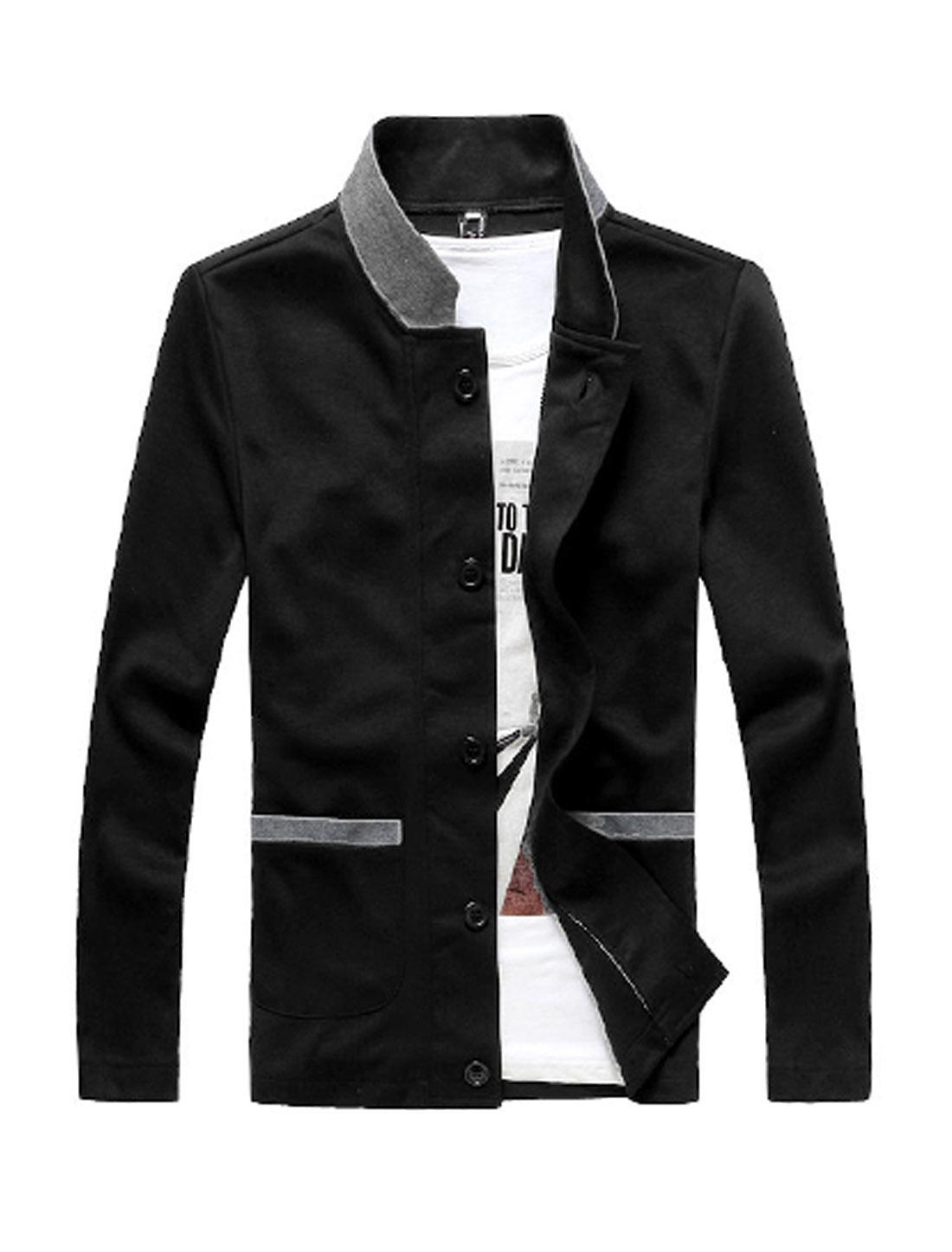 Men Chic Single-Breasted Front Black Splice Slim Fit Casual Blazer S