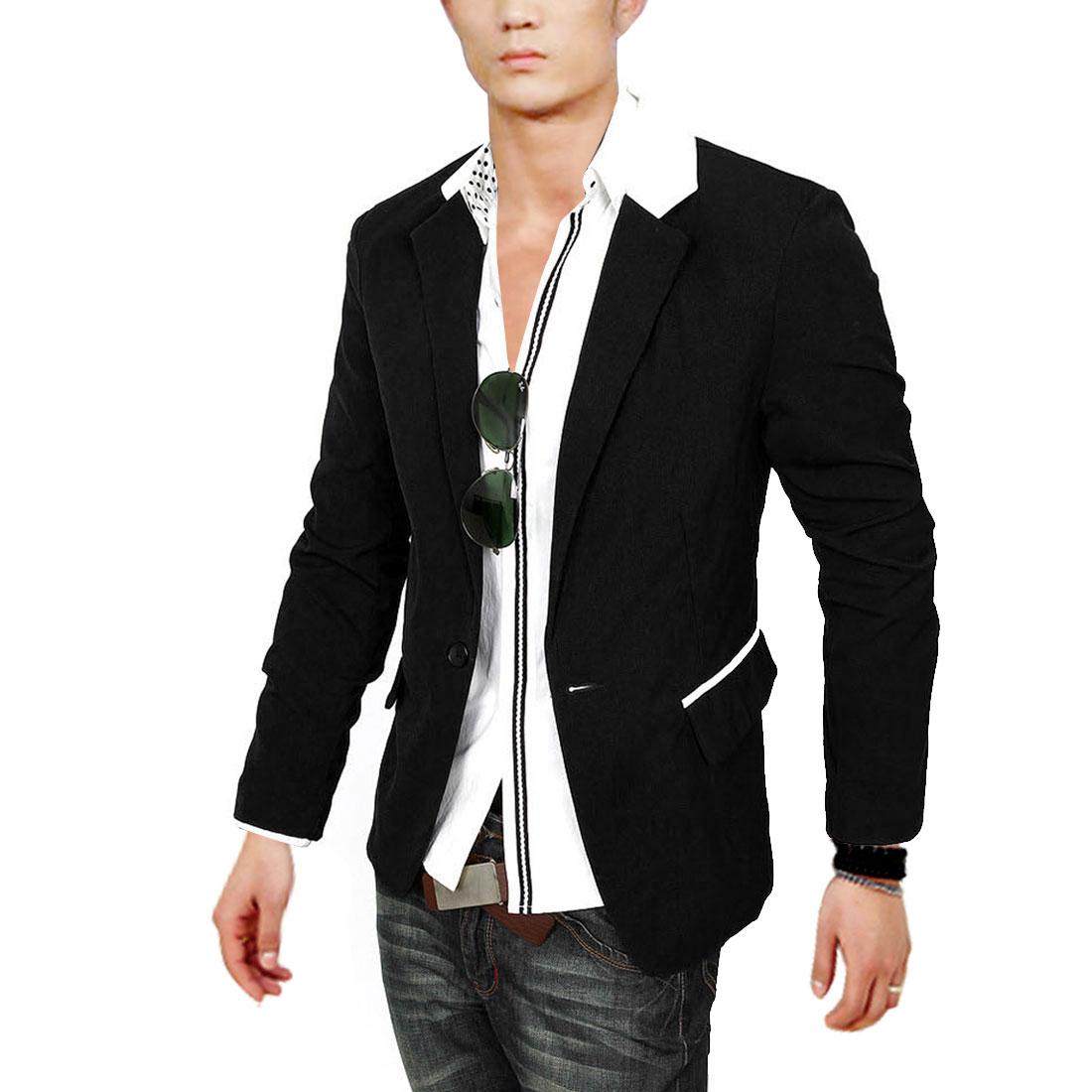 Fashionable One Button Figure Flattering Black S Blazer Coat For Men