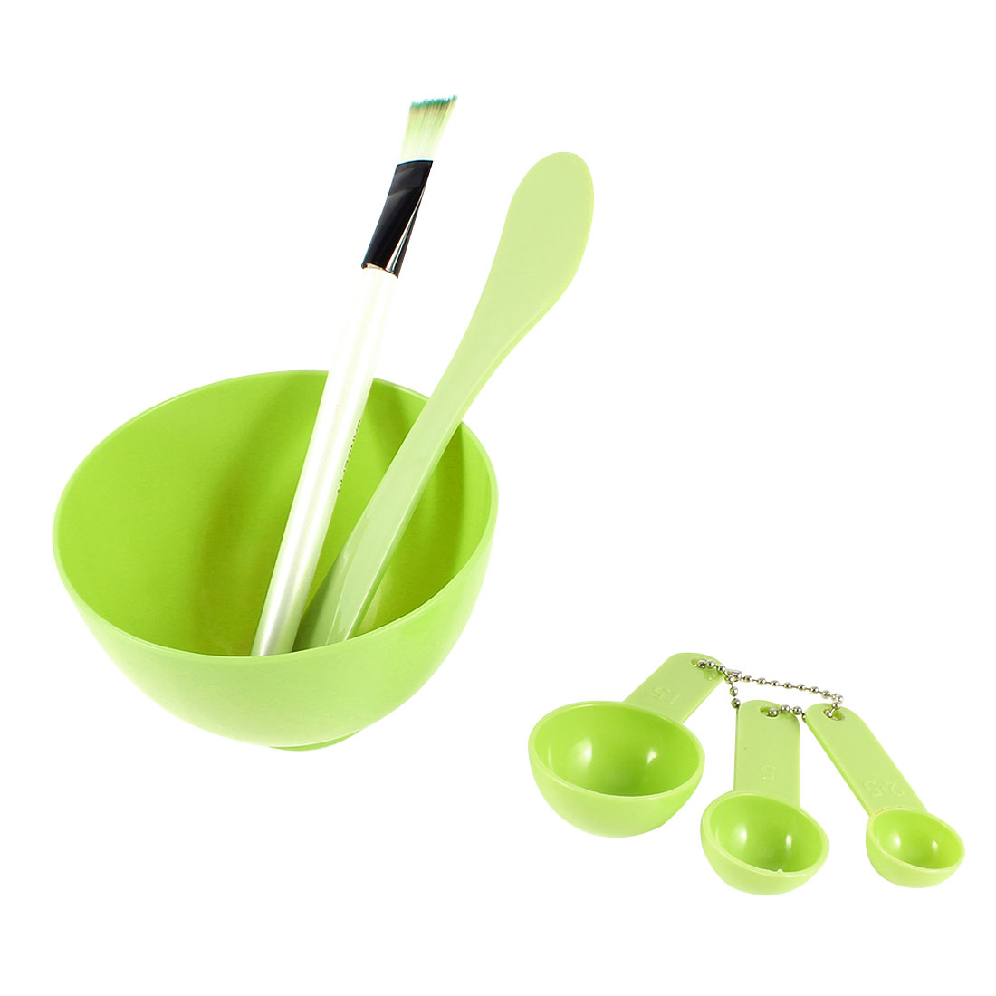 Grass Green 4 in 1 DIY Facial Mask Bowl Brush Stick Measuring Spoon