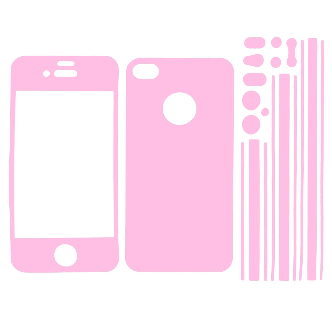 Pink Vinyl Front Back Frame Skin Sticker Film for iPhone 4 4G 4S 4GS