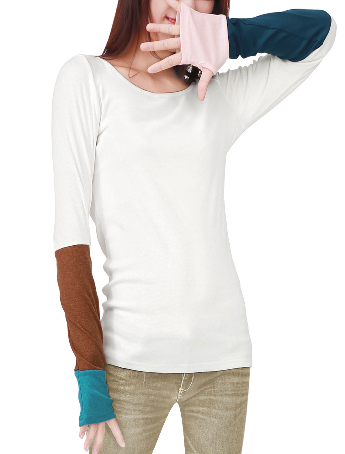 Women Contrast Color Thumb Hole Sleeve T-Shirt White XL