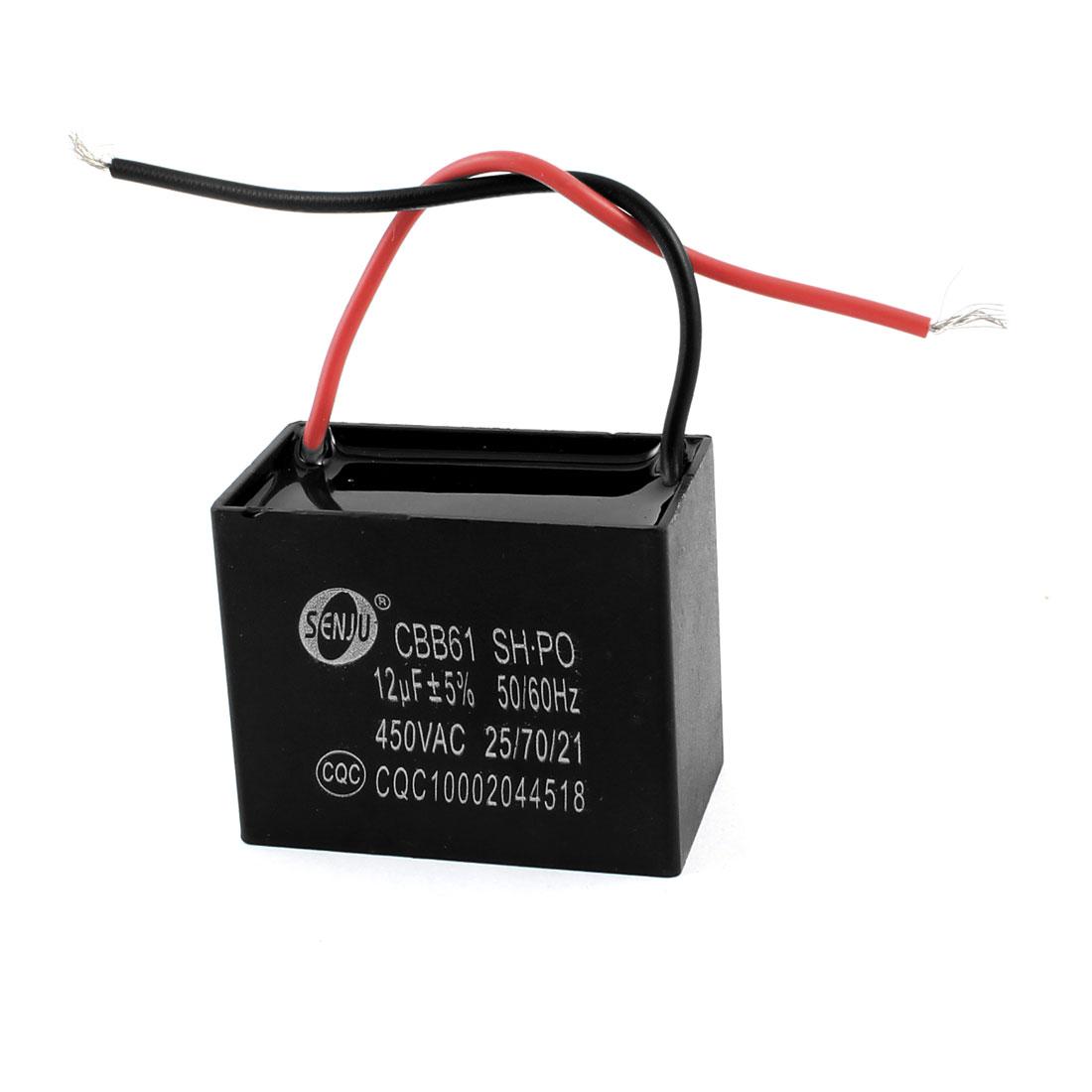 Fan CBB61 12uF 56/60Hz 450VAC 2 Wire Polypropylene Film Motor Run Capacitor