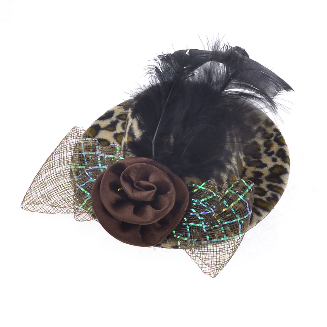 Lady Brown Flower Bowknot Leopard Print Mini Hat Alligator Hair Clip