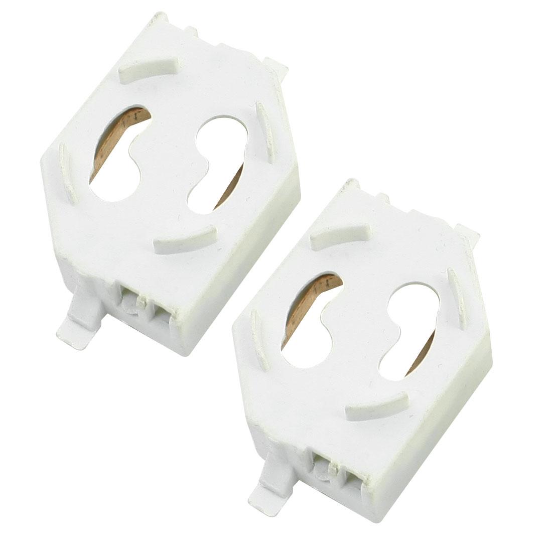White Plastic Fluorescent Light Holder Socket Pair for T8 Tube Light