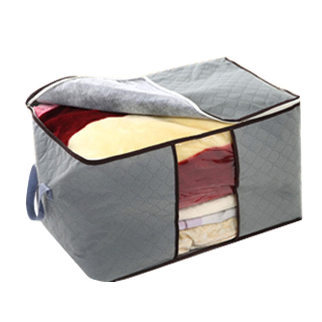 Gray Non-waven Checkered Pattern Quilt Clothes Storage Bag Case Holder