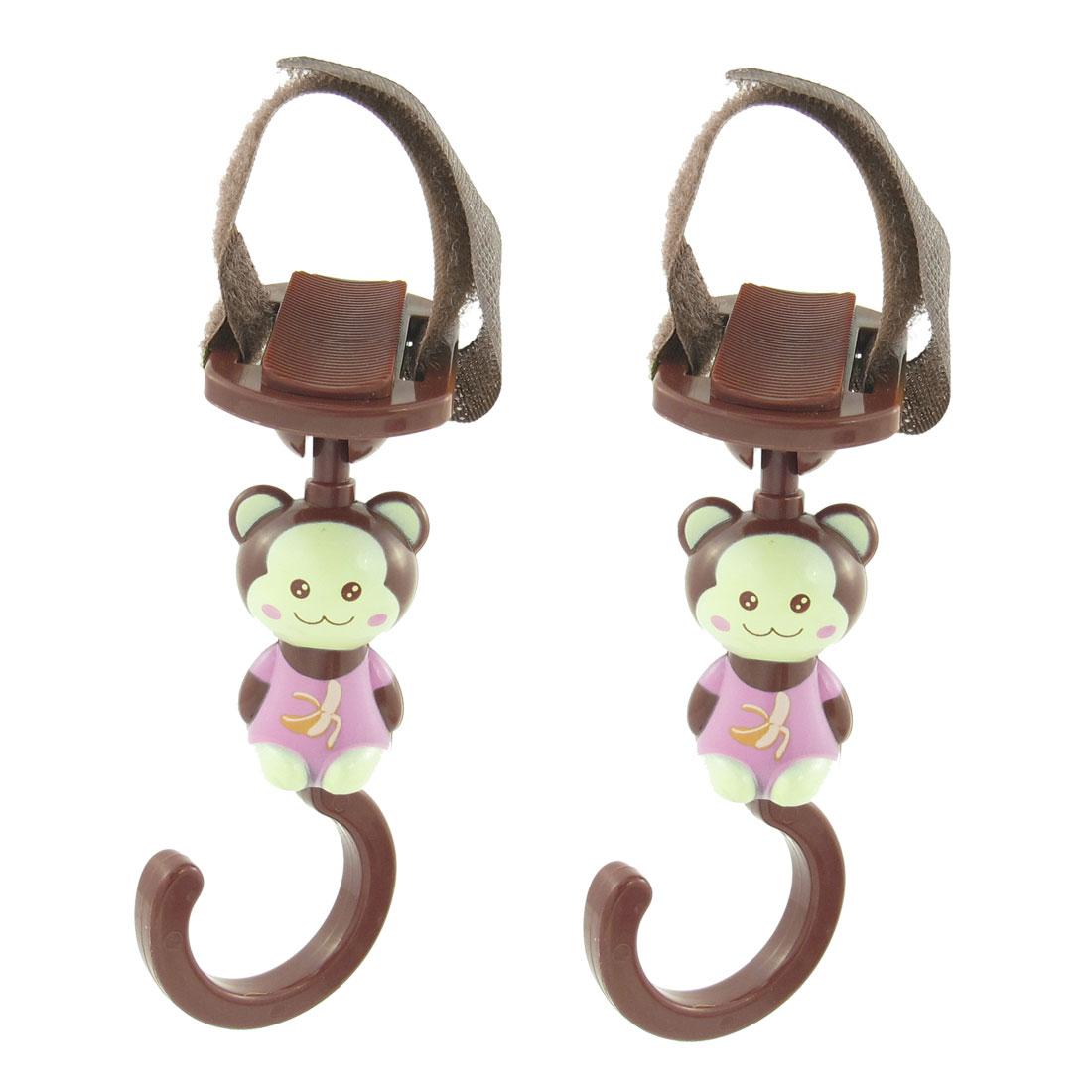 2 PCS Portable Brown Plastic Cartoon Monkey Design Hanger Hook Clasp