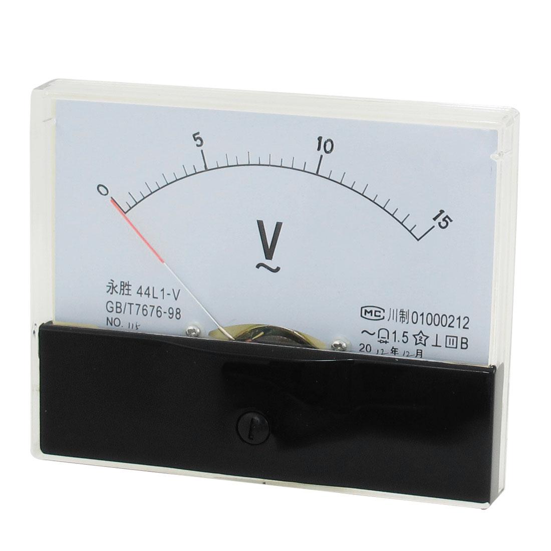44L1 AC 0-15V Measuring Rectangle Analog Panel Volt Meter Gauge