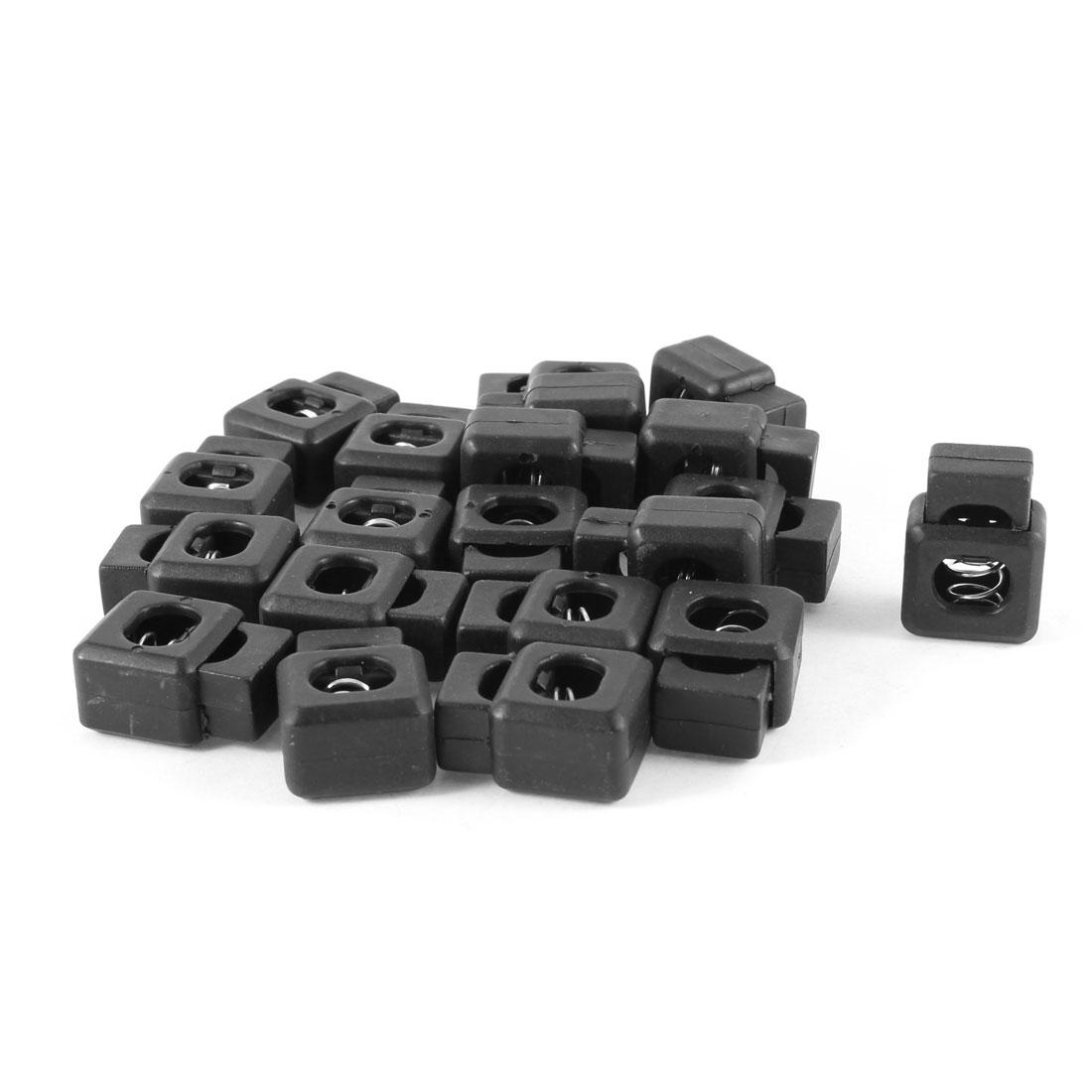 10mm Sigle Hole Rectangular Hard Plastic Black Cord Lock 20 Pcs