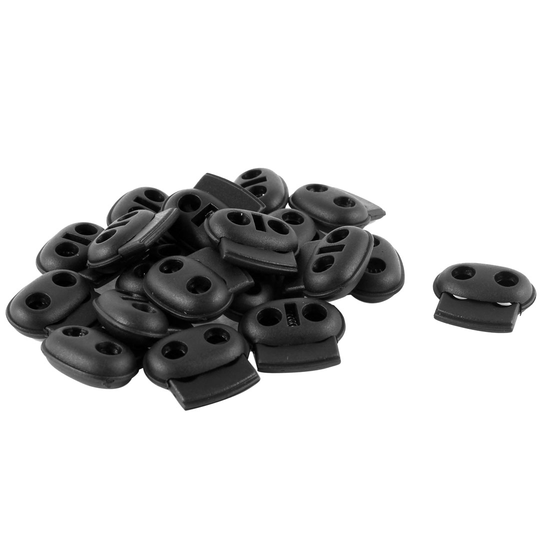 20PCS Plastic 5mm Double Hole Spring Stopper Bean Cord Locks Ends