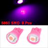 8 Pcs T10 5050 SMD Pink LED Instrument Board Light Bulb for Car